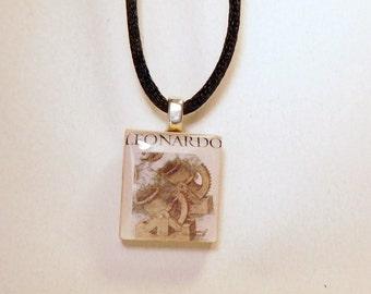 LEONARDO DA VINCI Pendant / Scrabble Art / Beaded Charm / Unusual Jewelry Gift / Upcycled - Repurposed