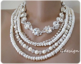 Freshwater Bridal Pearl Chunky Layered Necklace, Pearl Necklace,  Handmade Ivory Pearl Necklace, Pendant
