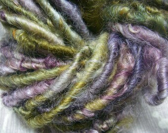 Handspun Soft Curly Textured Bulky Border Leicester Wool Art Yarn in Smoky Green and Purple by KnoxFarmFiber for Knit Weave Crochet