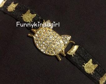 Gold Kitty Rhinestone Connector Headband Black Cat or White Elastic Metallic Foil Print 5/8 inch Custom sized Child to Adult Sparkle Metal