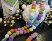 "Easter ""JELLY BEANS"" Wool Felt Ball Garland 8-10ft - Wool Felt Balls, Holiday Decor, Photo Prop, Ready To Ship!"