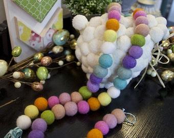 "Easter ""JELLY BEANS"" Wool Felt Ball Garland 8-10ft - Wool Felt Balls, Holiday Decor, Photo Prop, Ready To Ship!"
