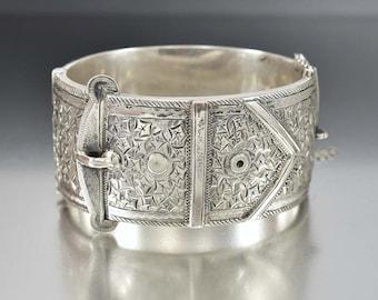 Antique Sterling Silver Buckle Bracelet, Ivy Engraved Victorian Cuff Bangle Bracelet, Antique Jewelry, English Wide Silver Bracelet