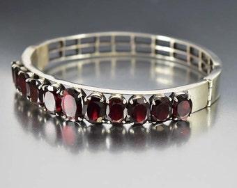 Art Deco Garnet Bracelet, Sterling Silver Cuff Bracelet, Silver Bangle Bracelet, Almandine Garnet Vintage Art Deco Jewelry, Antique Jewelry