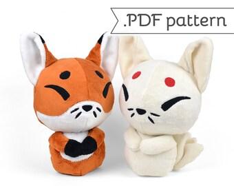 Kitsune Fox Japanese Kyuubi Ninetales Plush Sewing Pattern .pdf Tutorial
