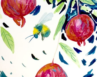 """Bee Watercolor Painting, Original Art, Pomegranate Painting 11""""x15"""""""