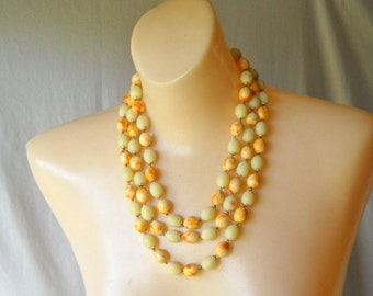 Vintage Necklace Three Strand Bead Necklace