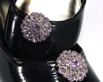 Shoe Clips Lilac Lavender Rhinestone Light Purple Cluster Round Prom Wedding Jewelry for your Shoes 1 Pair Shoeclips Shoe Brooch