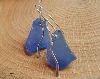 Rare Blue Sea Glass Squiggle Earrings, blue beach glass earrings, sea glass jewelry, beach glass jewelry, sterling silver dangle