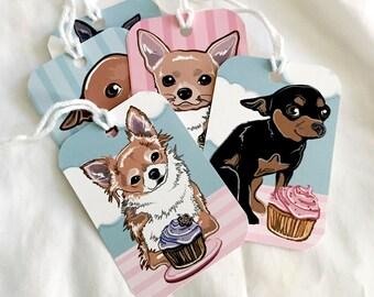 Cupcake Chihuahua Gift Tags - Set of 5