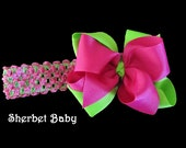 Pink & Green Double Layer 4 inches across Hair Bows with Knotted Center Headband Option