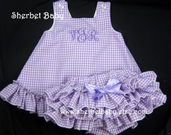 Gingham Check Ruffled Pinafore and Sassy Pants Ruffled Diaper Cover Bloomer Set