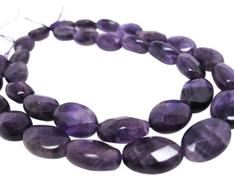 Amethyst Beads, Faceted Oval, Luxe AAA, Amethyst Oval, SKU 4207A