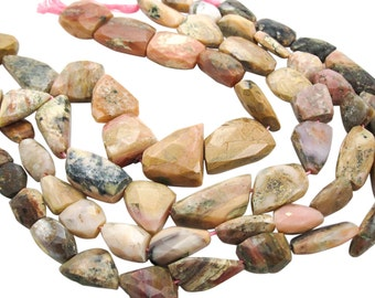 Pink Opal Beads, Pink Peruvian Opal, Pink Opal Nuggets, 16mm x 37mm, Faceted Nuggets, SKU 4024A