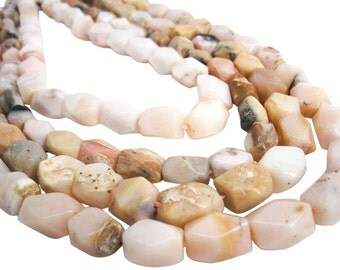 Pink Opal Beads, Pink Peruvian Opal, Pink Opal Nuggets, 10mm x 12mm, Semi Faceted Nuggets, SKU 3997A