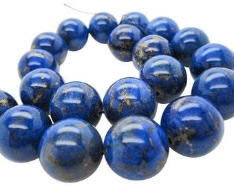 Lapis Lazuli, AAA Grade Lapis Beads, 20mm Smooth Round, Full Strand, SKU 5120A