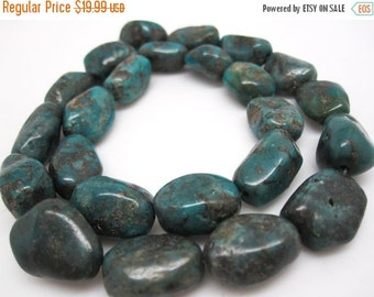 SALE Turquoise Nugget, Turquoise Beads, Green Blue Turquoise, Pebbles, December Birthstone, SKU 4539A