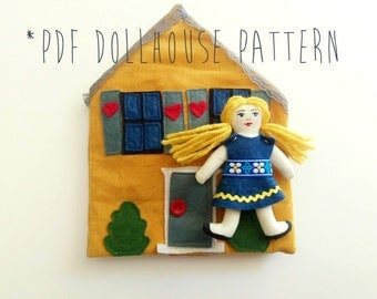 Travel Dollhouse Pattern, Take Along Doll House PDF Sewing Pattern, Fabric Dollhouse Tutorial, Maison Poupee, Casa de Munenca