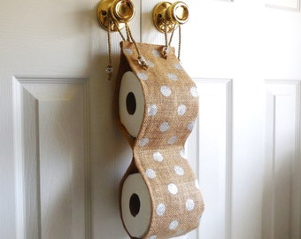 Home Accessories...Guest Bathroom...Choose Your Fabric... Toilet Paper Holder...Handy Bathroom Accessories...Burlap with Gold Polka dots...