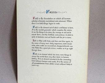 Faith Poem, Religious Affirmation, Mid Century Printed Paper Ephemera, Spiritual to Frame, Calligraphy Faith Adventist Poem