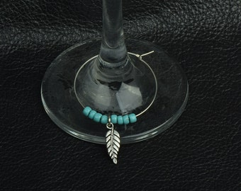 Custom Wine Glass markers , 6 per set silver leaf , each one with diffent seed beads, sold 6 each
