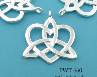 Large 30mm Celtic Heart Pendant, Charm, Silver Plated, Lead Free, Nickel Free (PWT 660) 3 pcs BlueEchoBeads