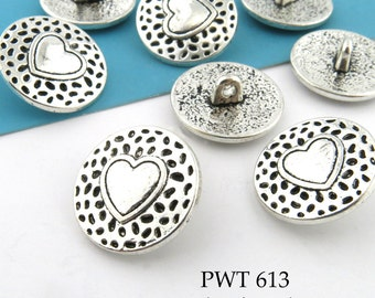 "Pewter Button, Heart with Dots, 17mm, 5/8"" Butons Antiqued Silver (PWT 613) 6 pcs BlueEchoBeads"