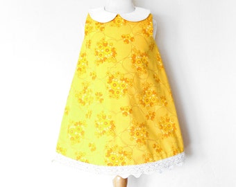 MISS SUNSHINE retro girl dress, toddler dress, baby girl floral dress, peter pan collar dress, vintage fabric dress, birthday party dress
