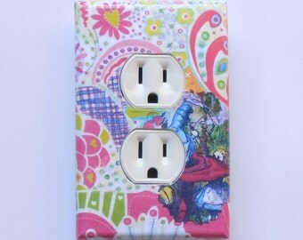 Alice outlets w/ MATCHING SCREWS- Alice in Wonderland bedroom Alice outlet covers Alice wall art decorations electrical outlet cover plates
