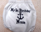 Anchor Nautical Birthday Diaper Cover Boutique Custom Monogrammed Personalized