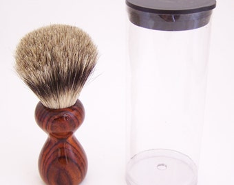 Cocobolo Wood 16mm Silvertip Badger Travel Brush  (Handmade in USA)C2 - Gift for Him - Executive Gift - 5th Anniversary - Wood Shaving Brush