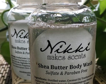 Shea Butter Body Wash Sample - ROMANTIC-inspired  fragrances (your choice)