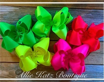 Neon Double Stack XLarge Bow set summer brights