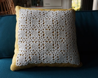 Vintage Yellow Fabric Doily Pillow