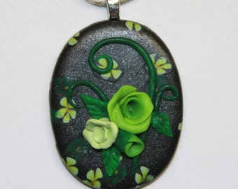 Green Roses Black Cabochon Polymer Clay Pendant