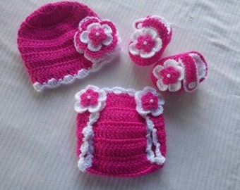 Baby Girl Infant Girl Crochet Hat Beanie Booties Diaper Cover Baby Shower Gift Photo Prop 10019