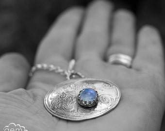 Moonstone and etched sterling silver long  rustic bohemian Necklace pendant - Daughter of the Moon -