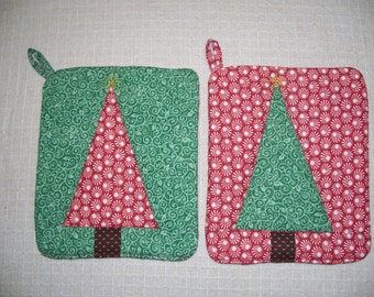 Christmas Tree Pot Holder Set, Red & Green, Hot Pads, Insulated Trivets, For the Cook, For the Kitchen, Holidays