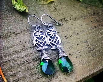 Sterling Silver and Emerald Swarovski Crystal Earrings