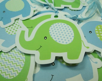 Blue & Green Baby Elephant Gift Tags