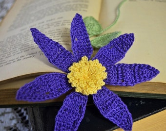 Handmade Crochet Flower Bookmark Purple Clematis