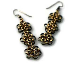 Black and Gold Dangle Earrings with Intricate Honeycomb Pattern