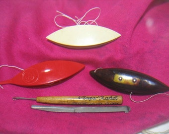 Vintage lot Tatting Shuttle & Sewing Items Hooks Boye Amber German