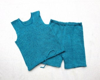 Hand Knit  Linen Set for Toddler Girl - Shorts and T-Shirt - 3T/4T - 100% Linen/Flax