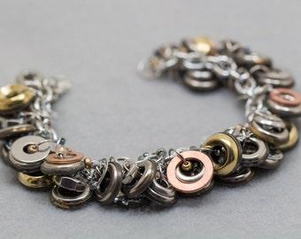 Button Charm Bracelet / Metal Buttons With Hardware Jewelry / Unique Versatile Neutral Piece by randomcreative on Etsy
