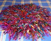 silk rug recycled silk rag rug mat multicolour silk crocheted mat tattered boho mat rug