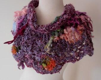 Capelet Collar  Hand Spun Hand Knit  Crochet plumfish