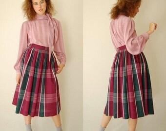 SALE SALE Preppy Plaid Skirt Vintage 60s Burgundy Preppy Tartan Plaid Pleated High Waist Mod Skirt (s)
