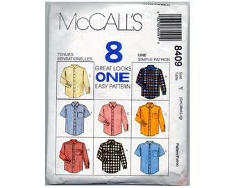 Vintage Mens Shirt Pattern McCalls 8409 Button Front, Long or Short Sleeves, Collar, Back Yoke, Size Small Medium and Large