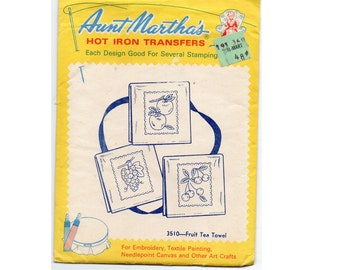 Aunt Marthas Vintage Iron Transfers for Kitschy Embroidery Fruit, Cherry Apples Pears Peaches Grapes Plums Strawberry
